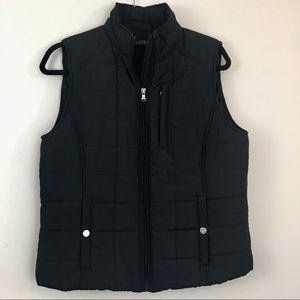 Ralph Lauren Black Zip Up Quilted Puffer Vest L